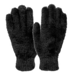 12 Bulk Ladies Soft Fur Winter Glove In Black