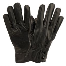 12 Units of Ladies Genuine Leather Gloves With Faux Fur Lining And Button Adjust Cuff - Leather Gloves