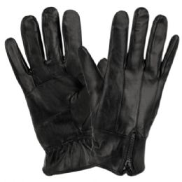 12 Units of Mens Genuine Leather Gloves With Faux Fur Lining And Zipper Cuff - Leather Gloves