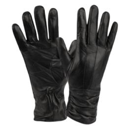 12 Units of Ladies Genuine Leather Gloves With Faux Fur Lining - Leather Gloves