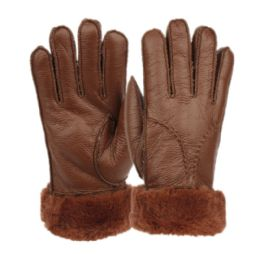 12 Units of Ladies Faux Fur Leather Winter Glove With Fur And Cuff Lining - Leather Gloves