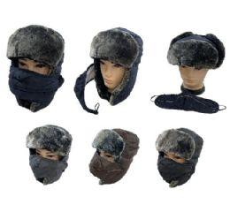 24 Bulk Aviator Hat With Fur Trim And Detachable Mask