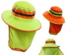 24 Wholesale Boonie Hat High Visibility Mesh Hat With Mesh Flap