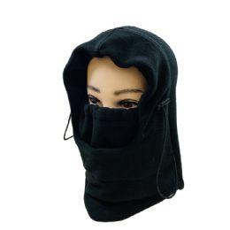 36 Units of Extra Warm Black Fleece Hooded Face Mask - Unisex Ski Masks