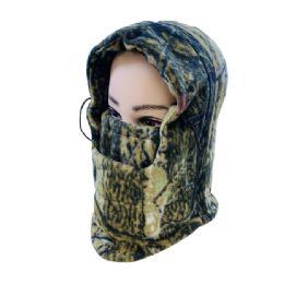48 Units of Extra Warm Camo Fleece Hooded Face Mask - Unisex Ski Masks