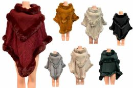 12 Units of Solid Color Faux Fur Poncho Assorted - Winter Pashminas and Ponchos