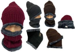 12 of Man Plush Lining Winter Beanie Hat And Neck Cover Set