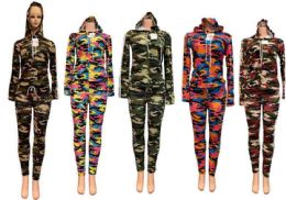 12 Units of Assorted Camo Workout Clothes Set - Womens Active Wear