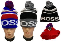 12 Units of Winter Pompom Hat Boss Plush Lining Inside - Winter Beanie Hats