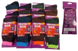 12 Units of Lady Heated Socks Assorted Colors - Womens Thermal Socks