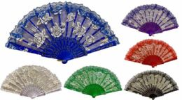 96 Wholesale Hand Fan Rose With Lace