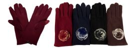 12 Units of Women Winter Touch Glove With Faux Fur Ball - Conductive Texting Gloves