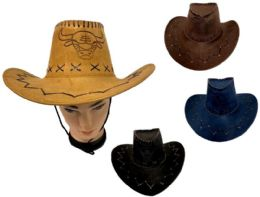 24 Wholesale Cowboy Hats Suede Pu Leather Western Hats