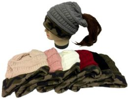 24 Bulk Knitted Winter Pony Tail Hat