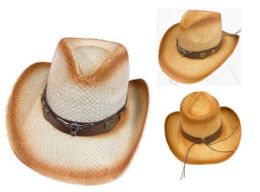 12 Wholesale Cowboy Hat With Brown Hat Band Steer