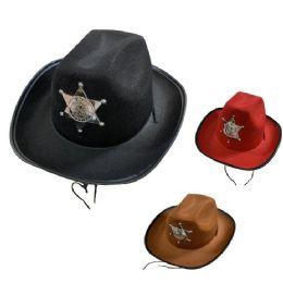 36 Wholesale Child's Felt Cowboy Hat With Deputy Sheriff Badge