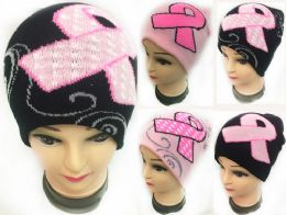 48 Units of Winter Knitted Beanie Pink Ribbon Breast Cancer Assorted - Winter Beanie Hats