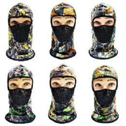36 Units of Ninja Mask With Hardwood Print - Unisex Ski Masks