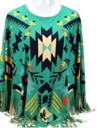 3 of Montana West Aztec Pattern Tan Poncho With Fringe