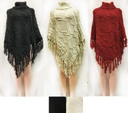 12 Units of Cable Knitted Turtle Neck Ponchos Assorted - Winter Pashminas and Ponchos