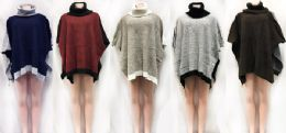 12 Units of Turtle Neck Bi Color Poncho Sweater Cover Ups Assorted - Winter Pashminas and Ponchos