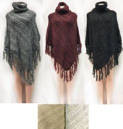12 Units of Cable Knitted Turtle Neck Ponchos Assorted Colored - Winter Pashminas and Ponchos