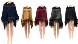 12 Units of Solid Color Faux Fur Ponchos With Pearl Beaded Assorted - Winter Pashminas and Ponchos