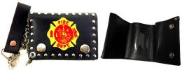 12 Units of Tri Fold Leather Wallet Fire Department - Leather Wallets