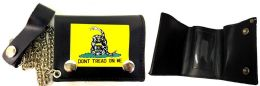 12 Units of Tri Fold Leather Wallet Dont Tread On Me Yellow Snake - Leather Wallets
