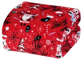 24 Units of Christmas Printed Red Santa Fleece Blankets Size 50 X 60 - Fleece & Sherpa Blankets