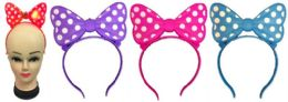 72 Wholesale Plastic Light Up Girls Headband With Bow Tie Assorted