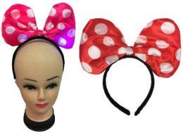 60 Wholesale Light Up Polka Dot Bow Headband Assorted Colors