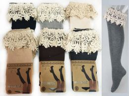 24 Units of Long Over The Knee Stocking With Lace Trim Assorted - Womens Leg Warmers