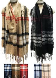 12 Units of Classic Plaid Winter Scarves Assorted - Winter Scarves