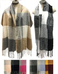 12 Units of Large Plaid Thick Winter Scarves Assorted - Winter Scarves