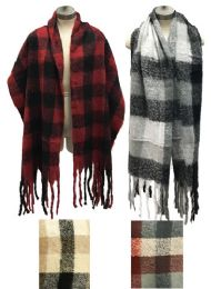 12 Units of Plaid Long Winter Scarves Assorted - Winter Scarves