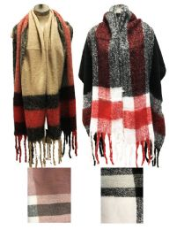 12 Units of Plaid Long Winter Scarves Assorted - 4th Of July