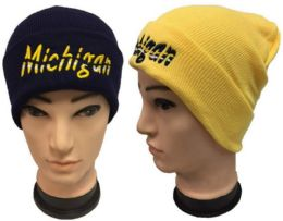 24 Units of Knitted Michigan Winter Hat - Winter Beanie Hats