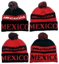 24 Units of Knitted Beanie Hat Mexico Pompom - Winter Beanie Hats