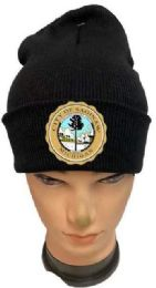 24 Units of City Of Saginaw Black Color Winter Beanie - Winter Beanie Hats