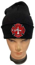 24 Units of Fire Department Black Color Winter Beanie - Winter Beanie Hats
