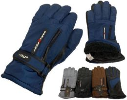12 Units of Solid Color Man Glove With Inside Lining And Anti Slip Grip - Winter Gloves