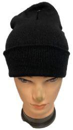 72 Units of Plain Black Color Winter Beanie - Winter Beanie Hats