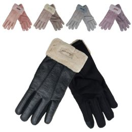 72 Units of Women's Leather Like Winter Gloves With Plush Cuff - Ski Gloves