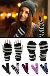36 Bulk Extra Long Knit Convertible Mittens