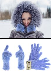 72 Bulk Fuzzy Blue Fashion Winter Gloves