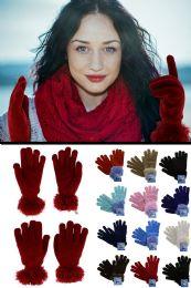 36 Bulk Fuzzy Fashion Winter Gloves