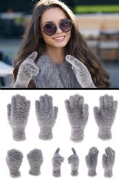 72 Bulk Fuzzy Gray Fashion Winter Gloves