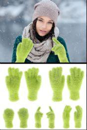72 Bulk Fuzzy Green Fashion Gloves
