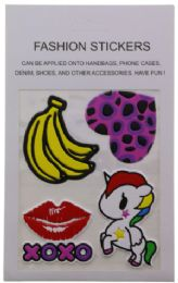 96 Units of Fashion Puff Stickers Bananas Heart Lips And Unicorn - Tattoos and Stickers